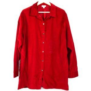 J. Jill Corduroy Cotton Red Button Shirt Plus 3X